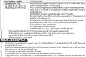 Healthcare Regulator Authority Latest Jobs 2021 HRA Islamabad