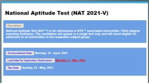 National Aptitude Test (NAT-V 2021)