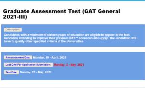 Graduate Assessment Test (GAT General 2021-III)