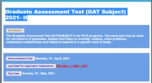 Graduate Assessment Test (GAT Subject) 2021- II