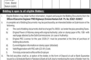 Highways Division Neelum AJK 2021 Bid Invitation