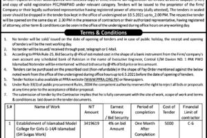Pakistan Public Works Department 2021 Bid Invitation