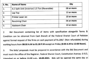 Federal Shariat Court Of Pakistan 2021 Bid Invitation