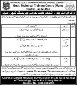 TEVTA Technical Training Centre Latest Jobs 2021