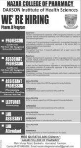 Nazar College Of Pharmacy Islamabad Latest Jobs 2021