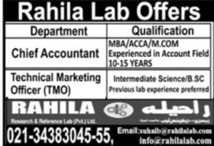 Rahila Research And Reference Lab Pvt Ltd Karachi Latest Jobs 2021