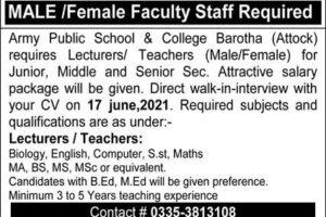Army Public School And College APS Jobs 2021 Barotha Attock