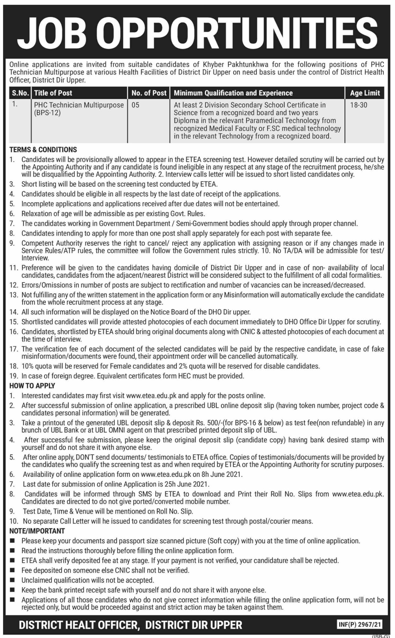 District Health Officer Dir Upper Latest Jobs 2021