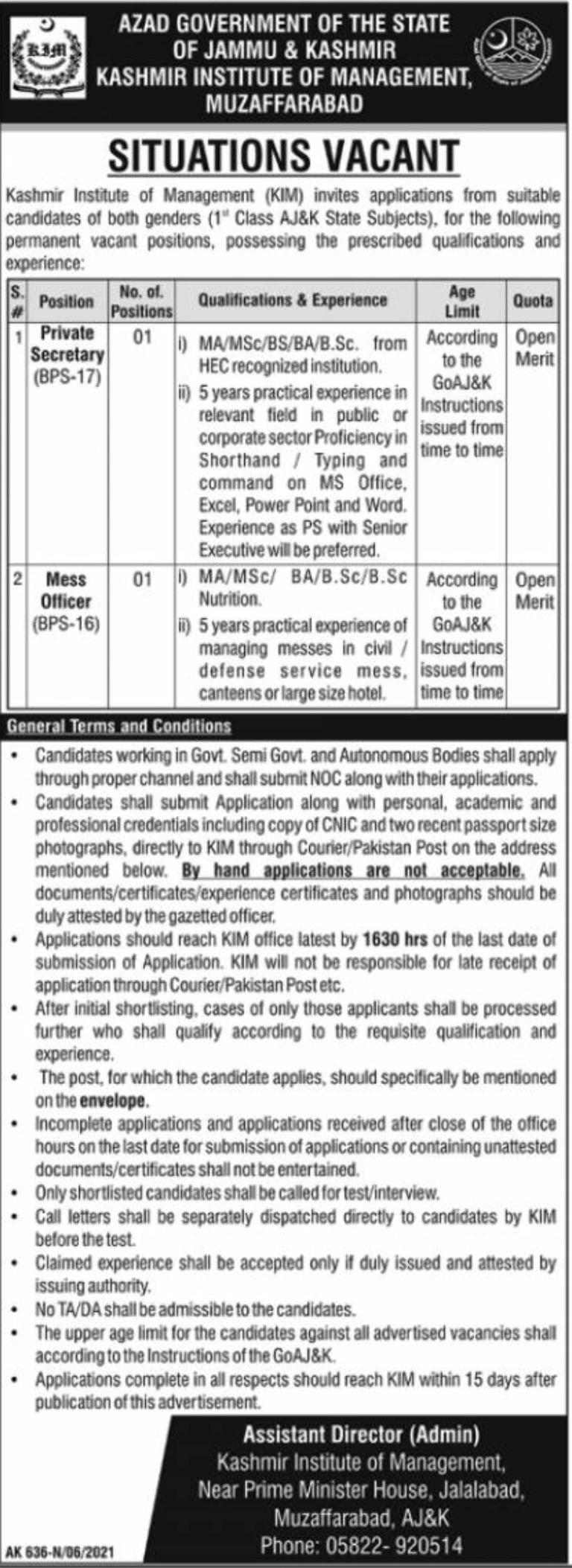 Kashmir Institute of Management KIM Jobs 2021 Muzaffarabad