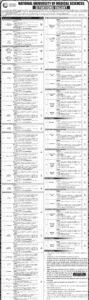 NUMS Rawalpindi Latest Jobs 2021 National University of Medical Sciences