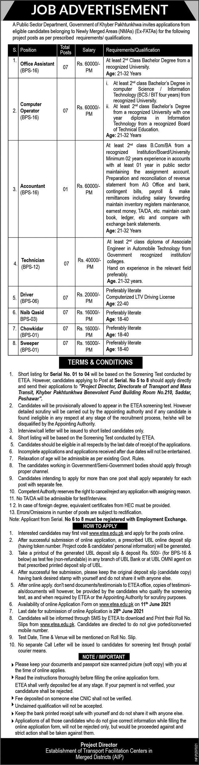 Public Sector Organization Peshawar ETEA Jobs 2021