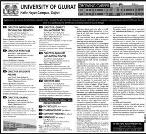 University of Gujrat UOG Latest Jobs 2021 Hafiz Hayat Campus